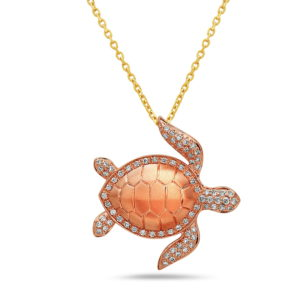 Sea Turtle Rose Gold Pendant with Diamonds