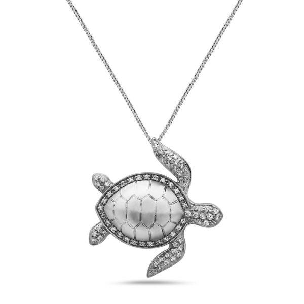 Sea Turtle White Gold Pendant with Diamonds