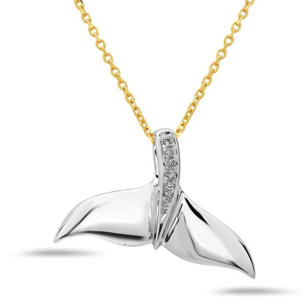Whale Fin White Gold Pendant with Diamonds