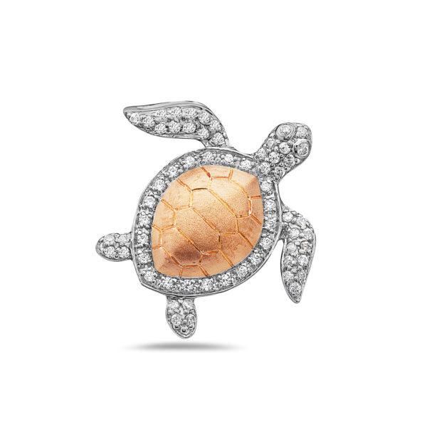 Sea Turtle Rose & White Gold Pendant with Diamonds