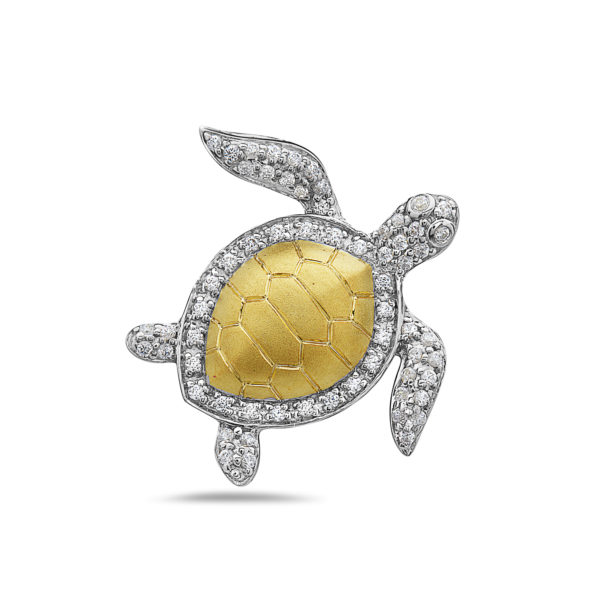 Sea Turtle Yellow and White Gold Pendant with Diamonds