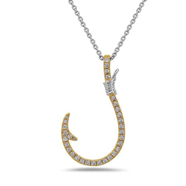 Fish Hook Yellow & White Gold Pendant with Diamonds