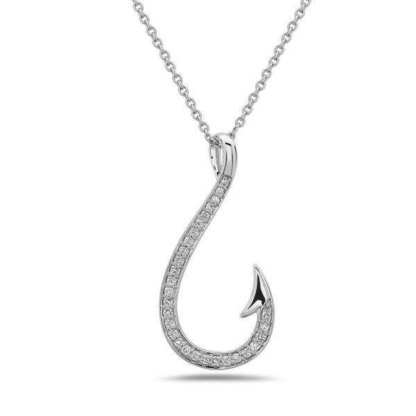 Fish Hook White Gold Pendant with Diamonds