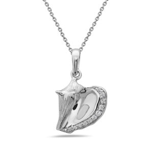 Conch Shell White Gold Pendant with Diamonds