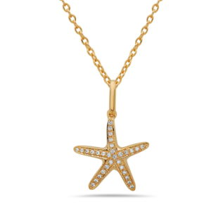 Small Starfish White Gold Pendant with Diamonds