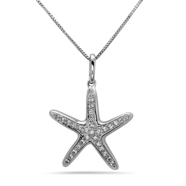 Large Starfish White Gold Pendant with Diamonds