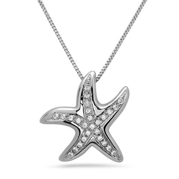 Starfish White Gold Pendant with Diamonds