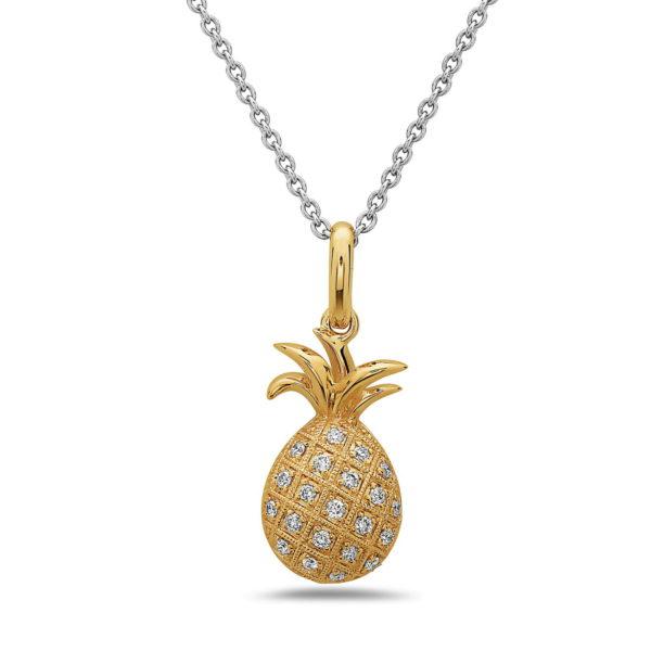 Pineapple Yellow Gold Pendant with Diamonds