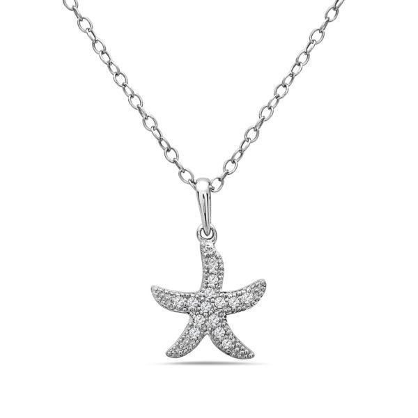 Small Starfish White Gold Pendant with Diamonds