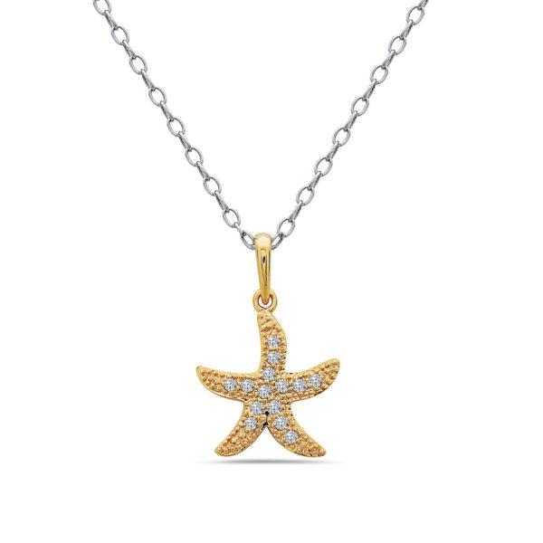 Small Starfish Yellow Gold Pendant with Diamonds