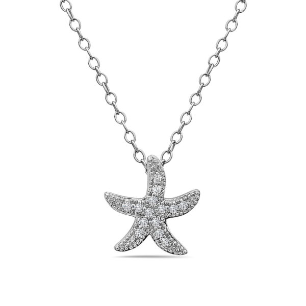 Medium Starfish White Gold Pendant with Diamonds