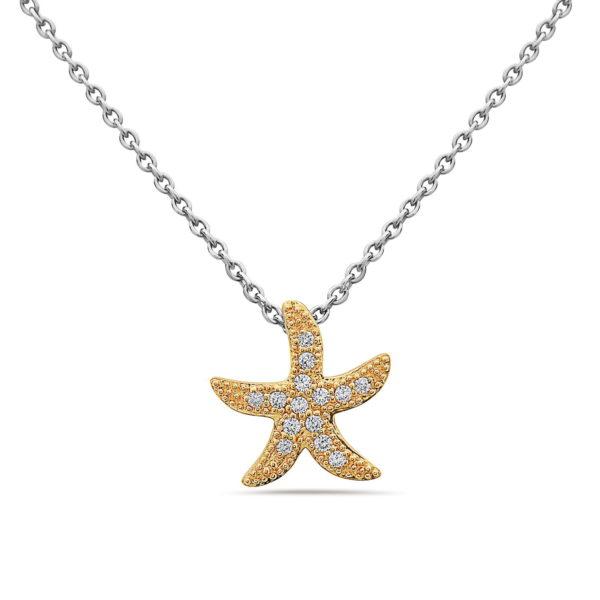 Medium Starfish Yellow Gold Pendant with Diamonds
