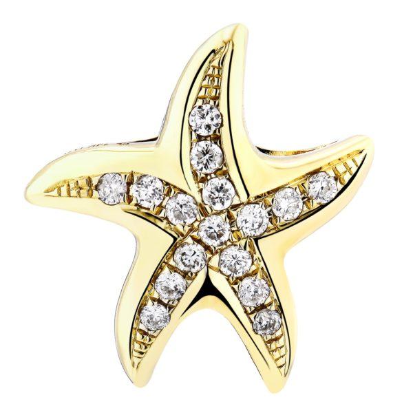 Starfish Yellow Gold Pendant with Diamonds