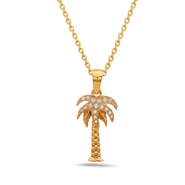 Palm Tree Yellow Gold Pendant with Diamonds