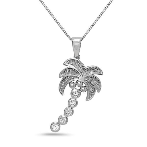Palm Tree White Gold Pendant with Diamonds