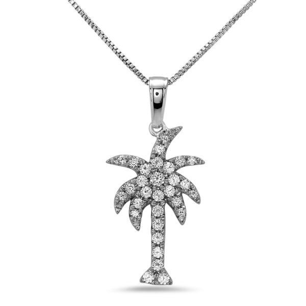 Large Palm Tree White Gold Pendant with Diamonds