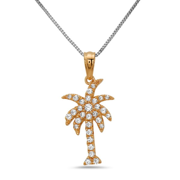 Palm Tree Rose Gold Necklace with Diamonds