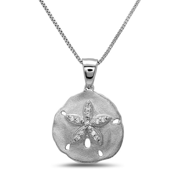 Small Sand Dollar White Gold Necklace with Diamonds