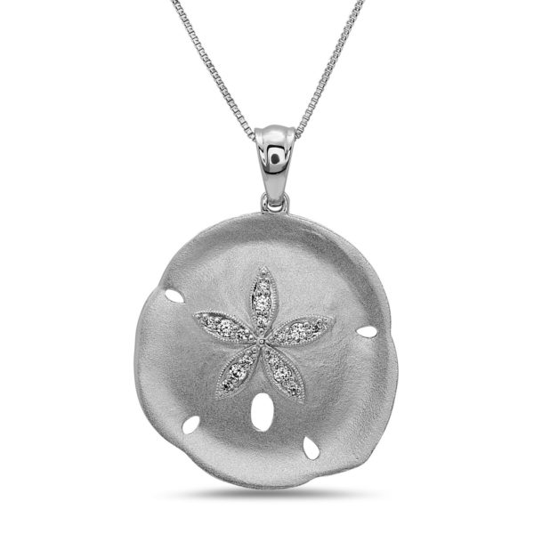 Extra Large Sand Dollar White Gold Necklace with Diamonds