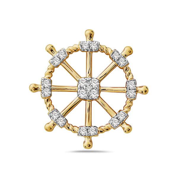 Ships Wheel Yellow & White Gold Pendant with Diamonds
