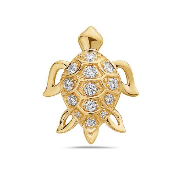 Sea Turtle Yellow Gold Pendant with Diamonds