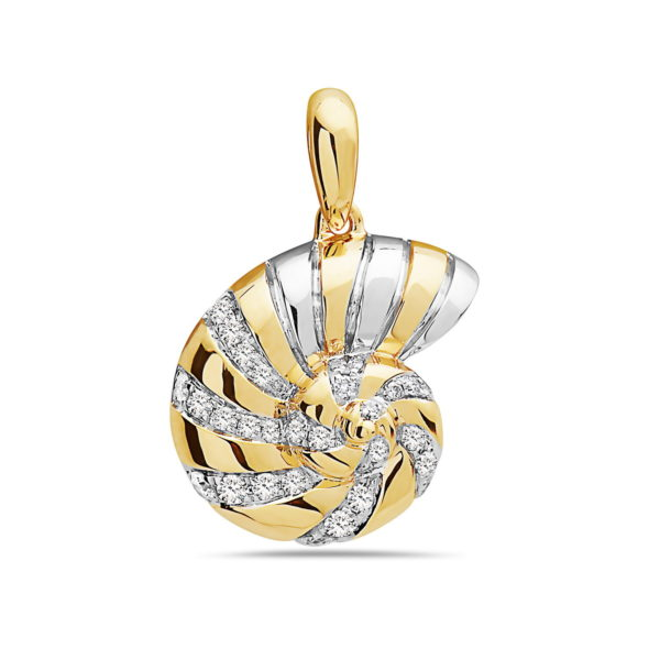 Nautilus Shell Yellow and White Gold Pendant with Diamonds