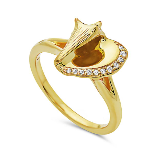 Conch Shell Yellow Gold Ring with Diamonds