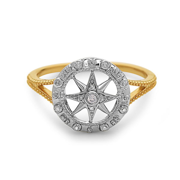 Compass Yellow & White Gold Ring with Diamonds