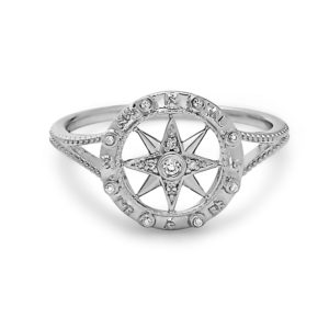 Compass White Gold Ring with Diamonds