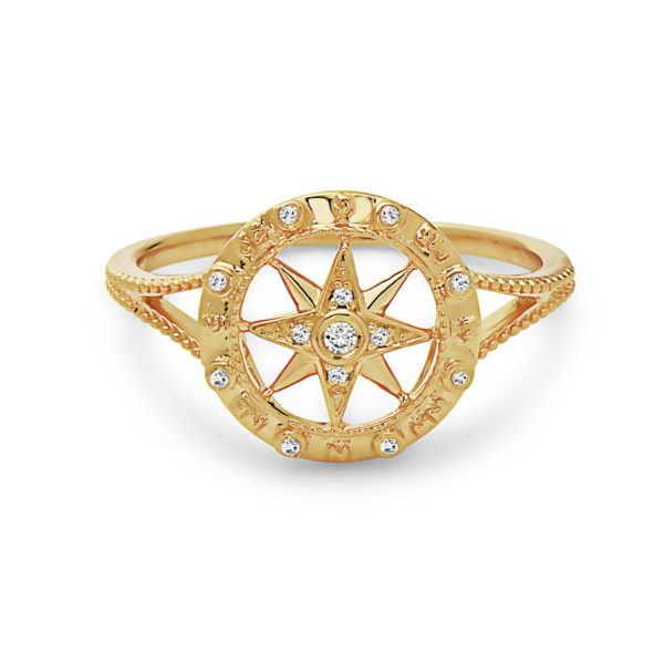 Compass Yellow Gold Ring with Diamonds