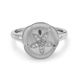 Sand Dollar White Gold Ring with Diamonds