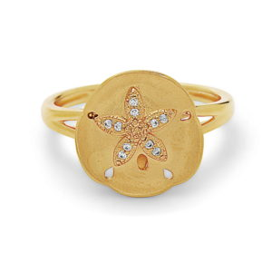 Sand Dollar Yellow Gold Ring with Diamonds