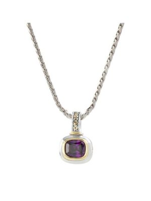 "two tone amethyst Slider Charm with 16"" Chain handcrafted in USA by John Medeiros"