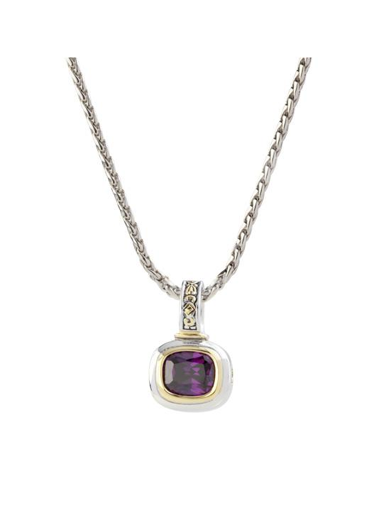 """two tone amethyst Slider Charm with 16"""" Chain handcrafted in USA by John Medeiros"""