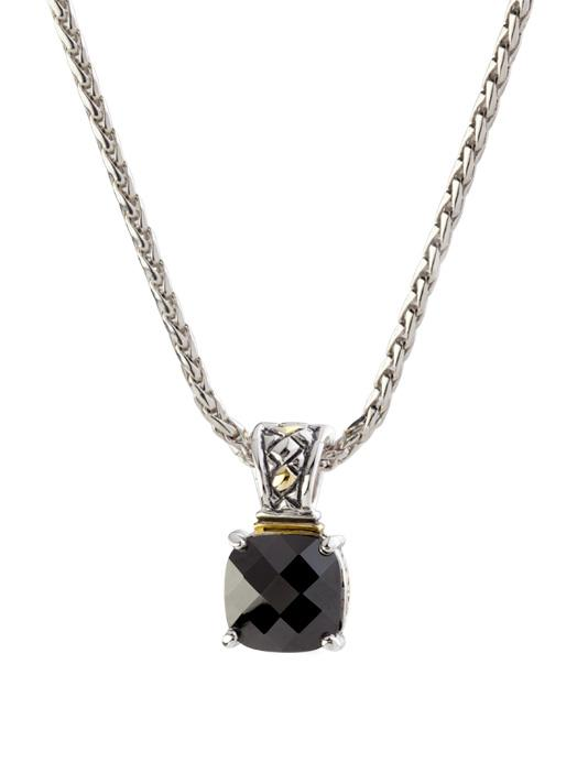 """two tone black Square Cut Enhancer Charm with 16"""" Chain handcrafted by john medeiros"""