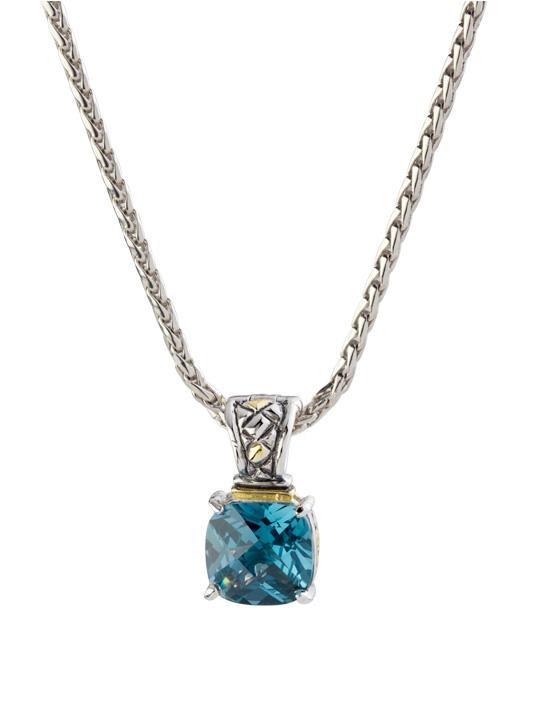 """two tone aqua Square Cut Enhancer Charm with 16"""" Chain handcrafted by john medeiros"""