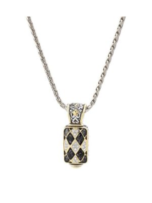 "two tone Lattice Collection - Black Abalone Edition - Pavé Enhancer with 16"" Chain handcrafted by john medeiros"