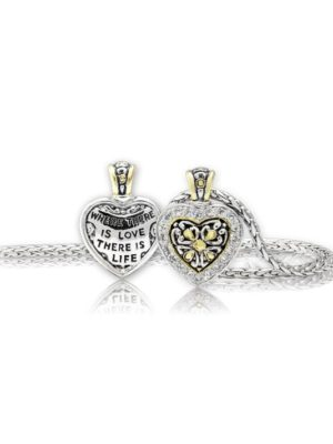 two tone Reversible Pavé CZ Filigree Heart Necklace handcrafted by john medeiros