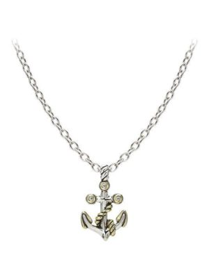 two tone anchor necklace with center stone handcrafted by john medeiros