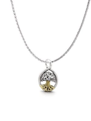 two tone Tree of Life Pendant with Chain handcrafted by john medeiros