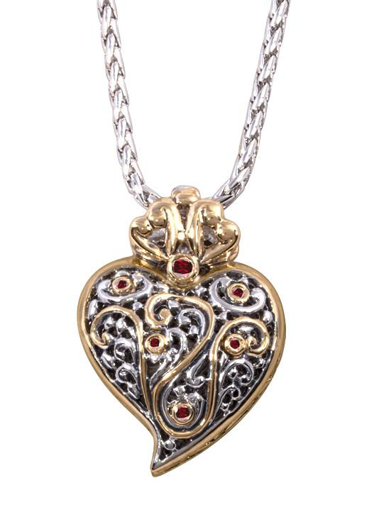"two tone Viana Filigree Heart Pendant with 18"" Chain handcrafted in USA by John medeiros"