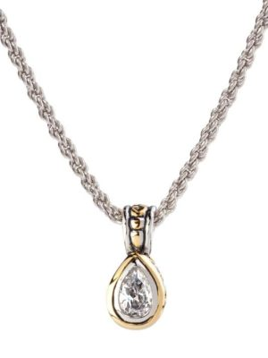 two tone 9x6mm CZ Pear Bezel Set Pendant Necklace handcrafted by john medeiros