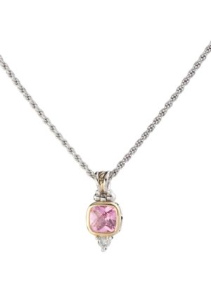 two tone pink Square CZ Pendent with Chain handcrafted by john medeiros