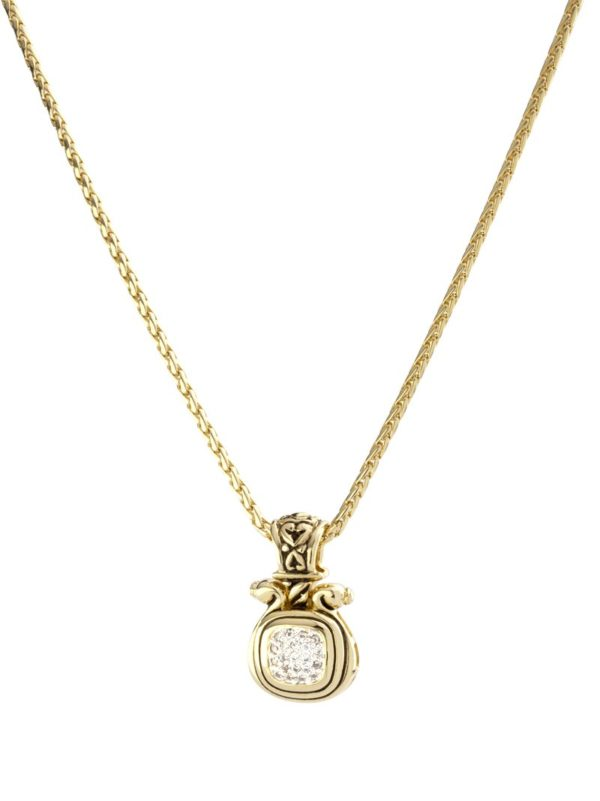 Anvil Gold & Pave Large Slider with chain handmade by john medeiros