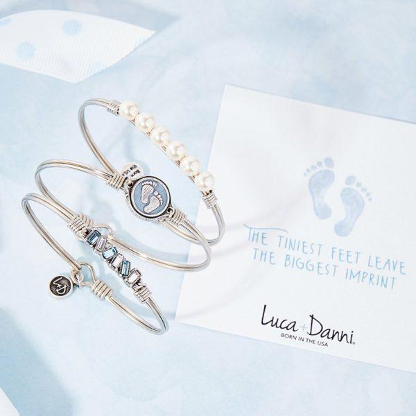 Little Footsteps Bangle Bracelet in Blue