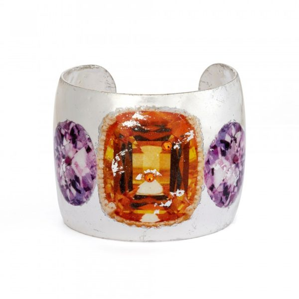 Citrine and Amethyst Cuff - Silver
