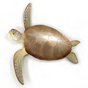 single bronze and green sea turtle swimming