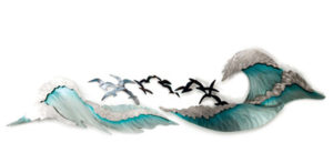 ocean waves with birds flying stainless steel wall art