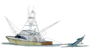 Yacht catching sword fish stainless steel wall art by mark malizia