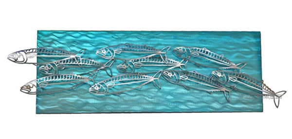 Mackerel on turquoise water background stainless steel wall art by mark malizia
